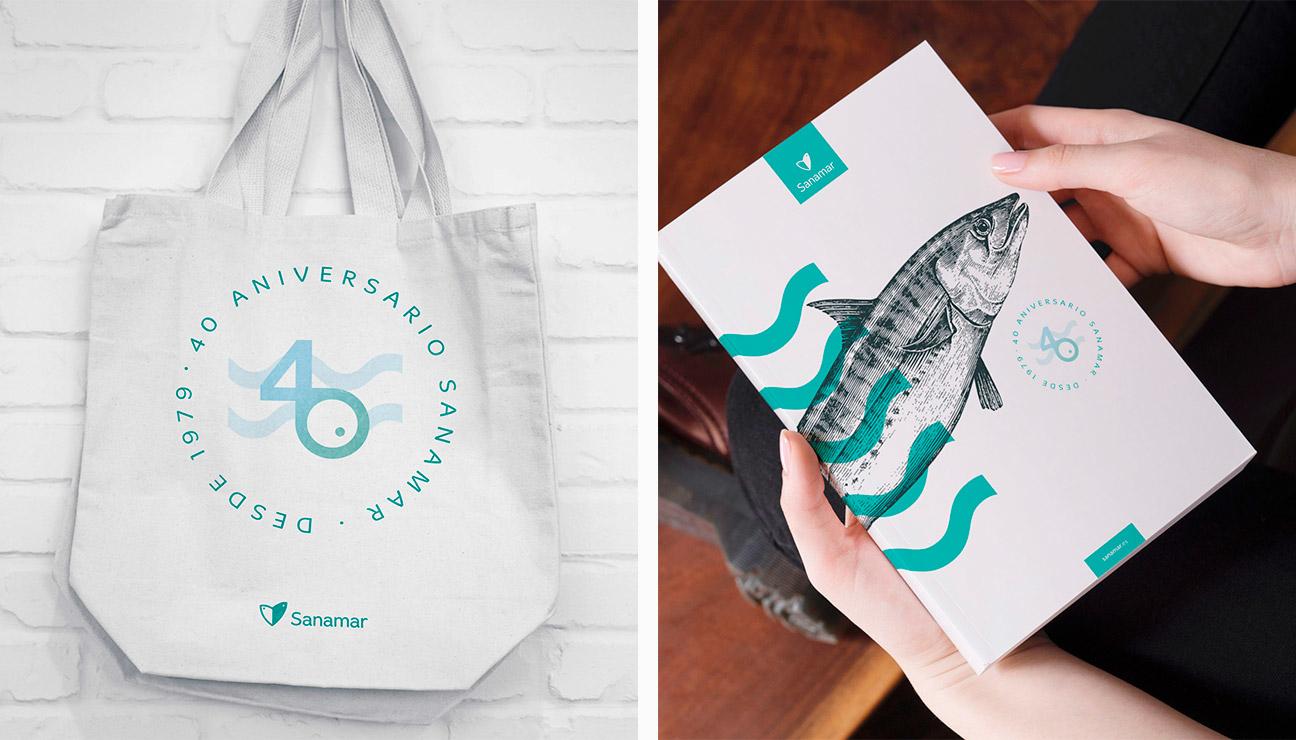 Diseño marca 40 aniversario Sanamar Alimentación