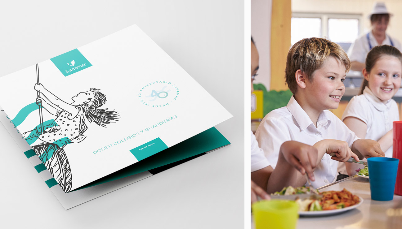 Diseño de dossier para guarderías Sanamar Alimentación