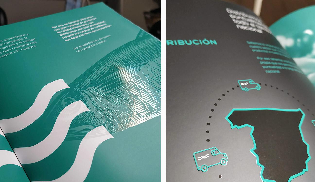 Diseño de catálogo corporativo Sanamar Alimentación